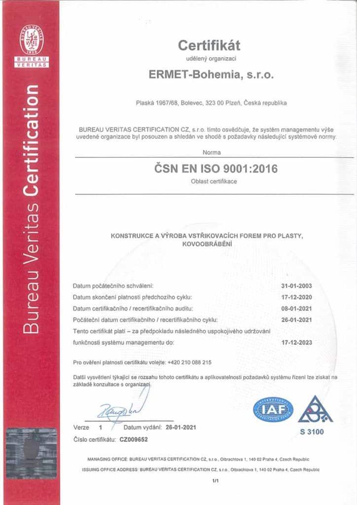 Certifikát ERMET Bohemia CZ