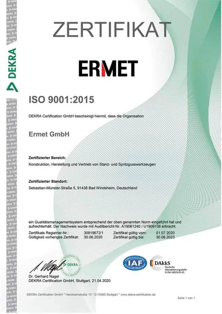 Zertifikat mateřské firmy DE